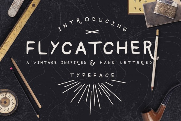 Flycatcher is a unique vintage inspired and hand lettered typeface.