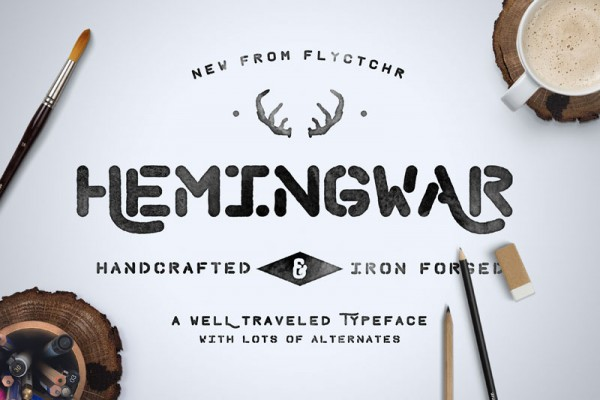Hemingwar is a iron forged, well traveled typeface with lots of alternates.