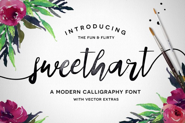 Sweethart is a fun and flirty calligraphy font with beautiful vector extras.