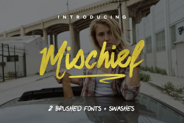 The Mischief set consists of 2 brush fonts plus several swashes.