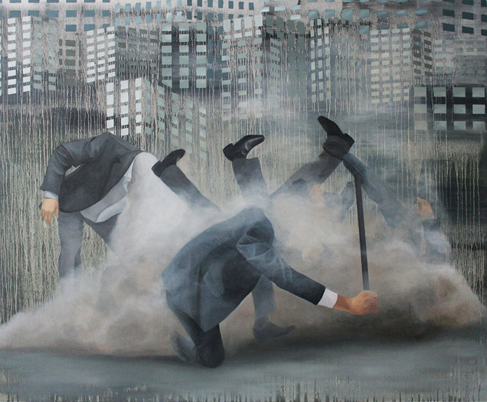 Transformation, painting with oil on canvas in the size of 160 x 130 cm.