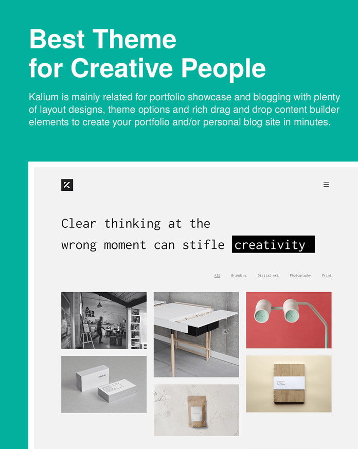 Kalium is one of the best WordPress themes for creative people.