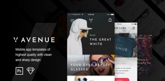 The V Avenue Mobile UI Kit from PixelBuddha.