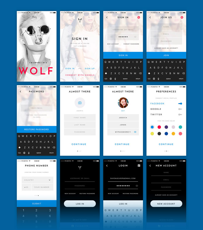 22 mobile screens of sign up, login, and profile pages.