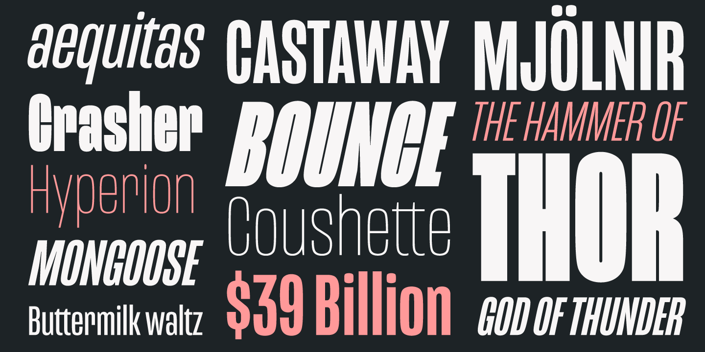 Mongoose is a unique display font in diverse weights created by type designer Nikola Kostić.