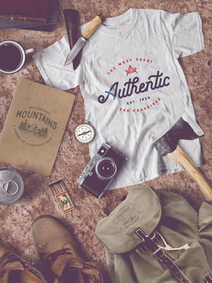 With these nice vintage typefaces you can created stylish apparel design and t-shirt lettering prints.