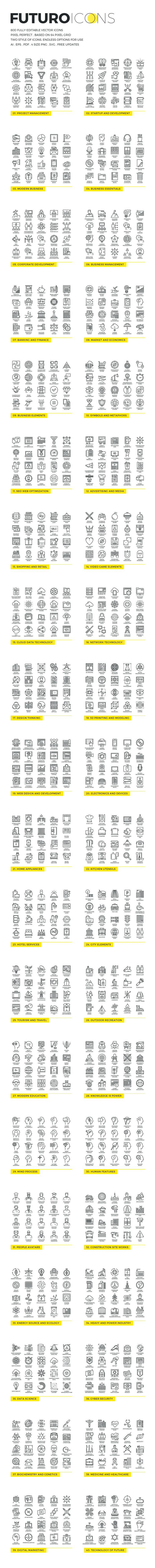 An overview of all included icons.