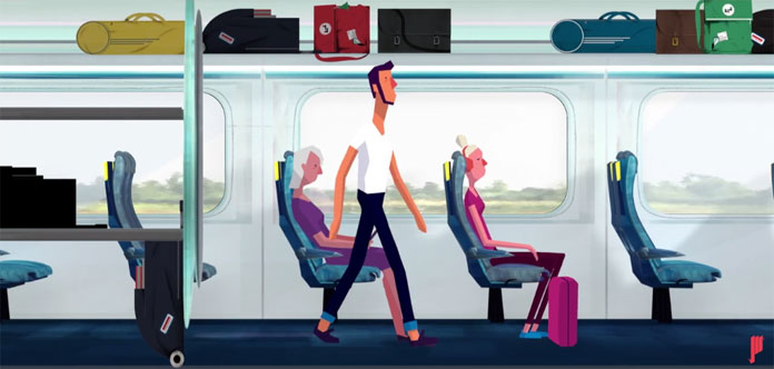 Another still from the video 'Luggage: what to stow and where.'