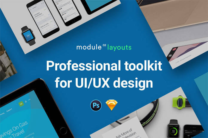 Module 02 layouts, a professional web design toolkit with 100 components and 13 website templates.