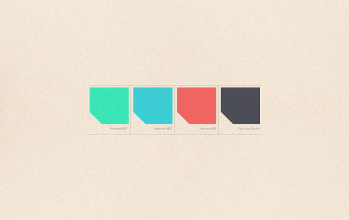 Firas Said has created a branding solution based on 4 colors including green, cyan, red, and black.