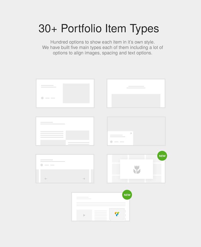 Over 30 portfolio item styles.
