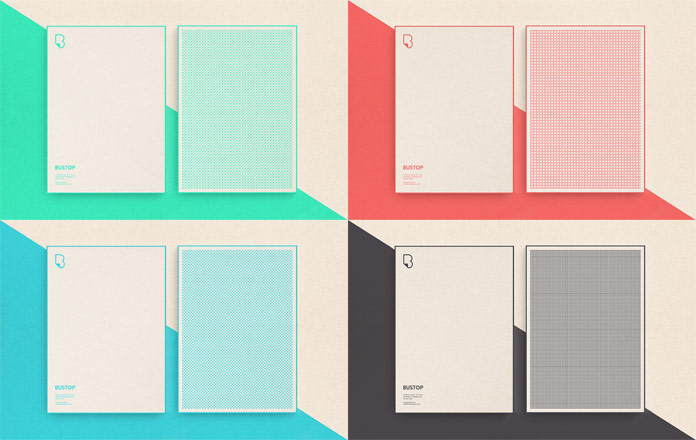 Also the stationery has been designed using the four brand colors.