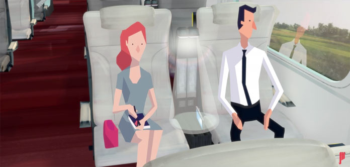 Another still from the video about seat environment features inside the new Eurostar trains.