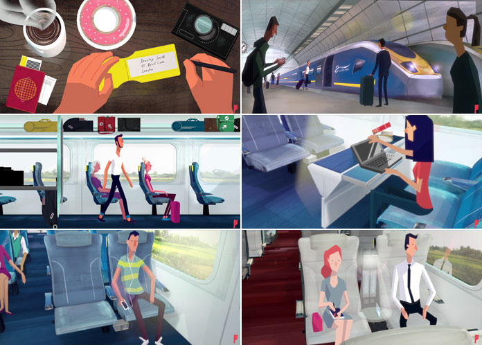A couple of stills taken from two animations created by Joao Monteiro for Eurostar.