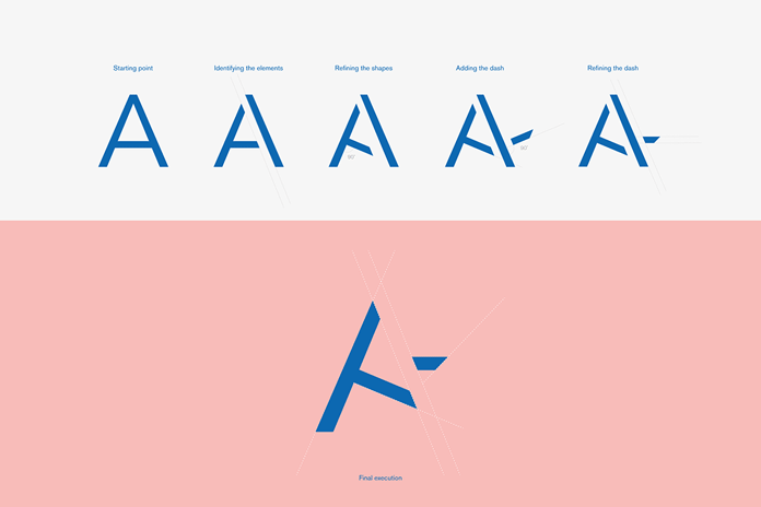 The distinctive logo construction from start to finish.