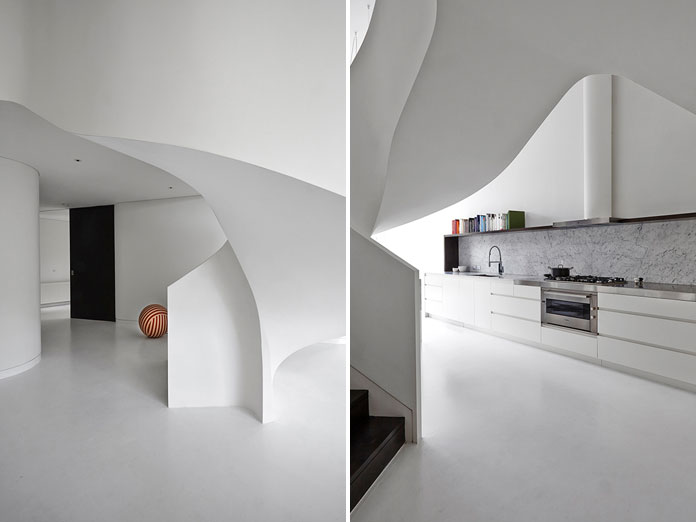 The white curvy shapes create a unique living experience.