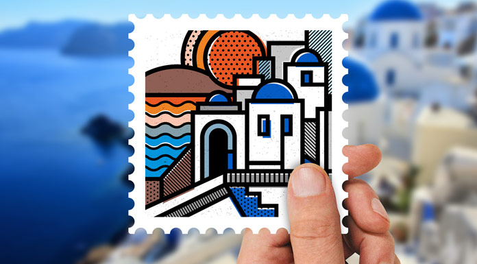 One of Mike Karolos's beautifully illustrated stamps.