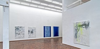 Numerous artworks by Koen Delaere at an exhibition.