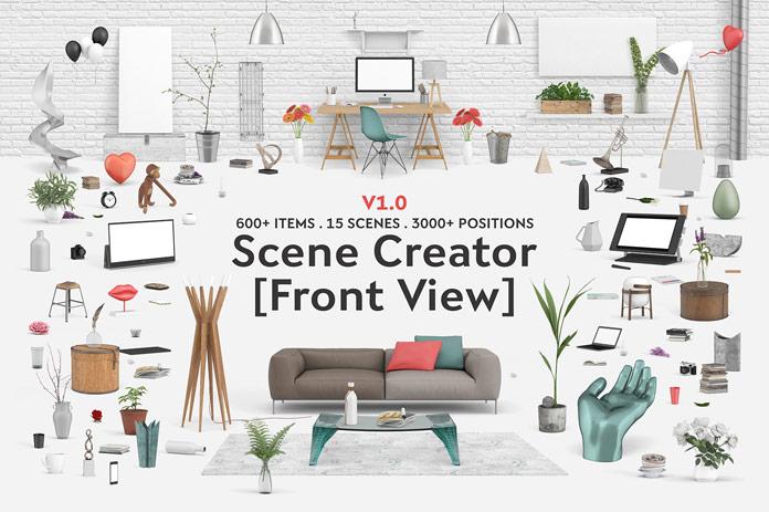 Interior scene creator front view for Room creator interior design