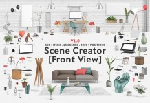 The Interior scene creator: front view edition to design a desk scene or a living room.