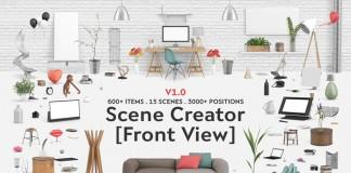 The Interior scene creator: front view edition to design a desk scene or a living room.
