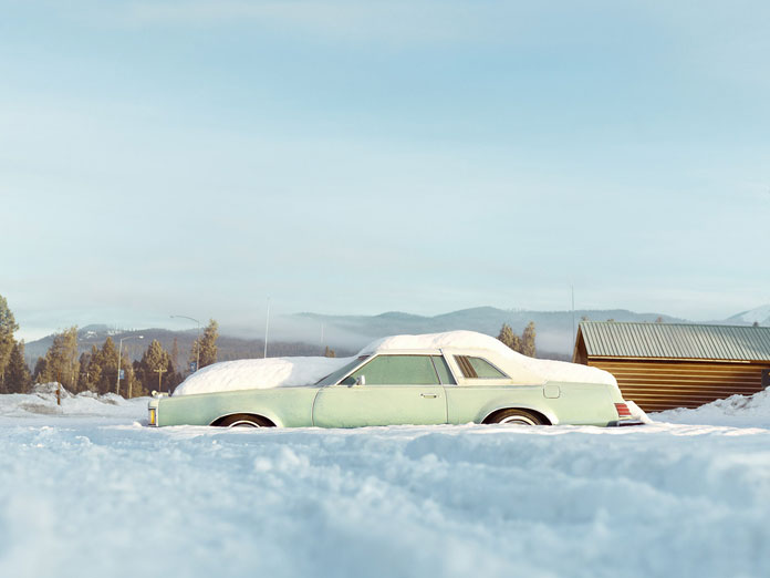 What a great setting of a car in front of the sunny winter landscape. Landscape photographs taken by Sam Barker at Double Arrow Montana.