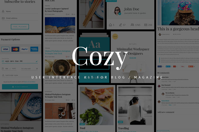 Cozy UI Kit for blogs and web magazines.