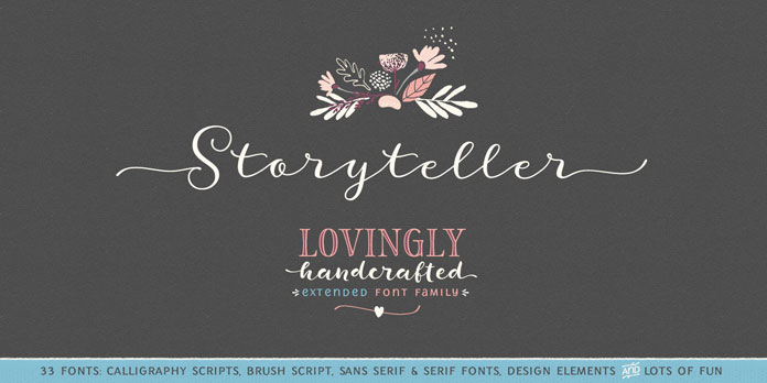 Storyteller, a lovingly handwritten font family from My Creative Land.