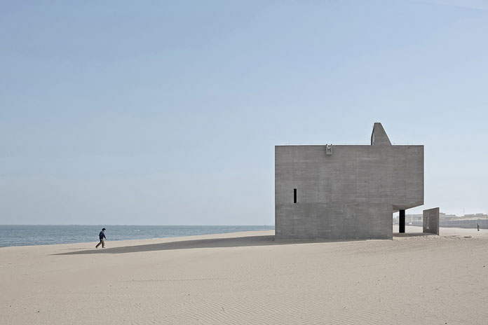 The Seashore Library, minimalist architectural design by Vector Architects on the beach of Beidaihe, Qinhuangdao, China.