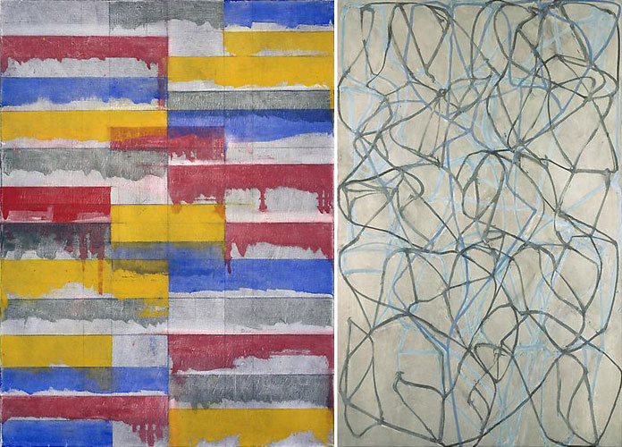 Abstract paintings by American painter Brice Marden. Left: 'Window Study #3' from 1985; right: 'The Studio' from 1990.