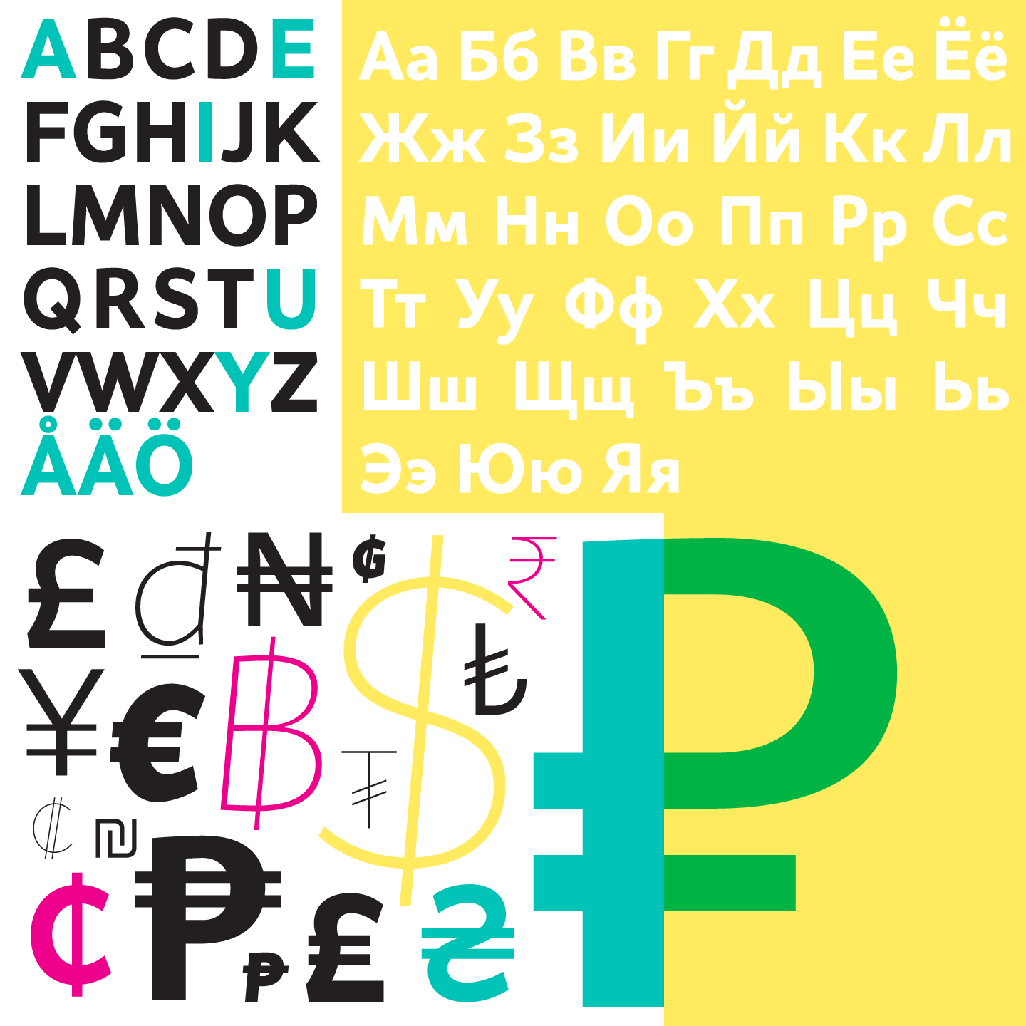 Latin letters vs Cyrillic letters plus special characters.