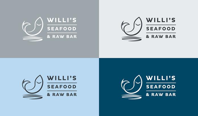 Seafood restaurant logo versions.