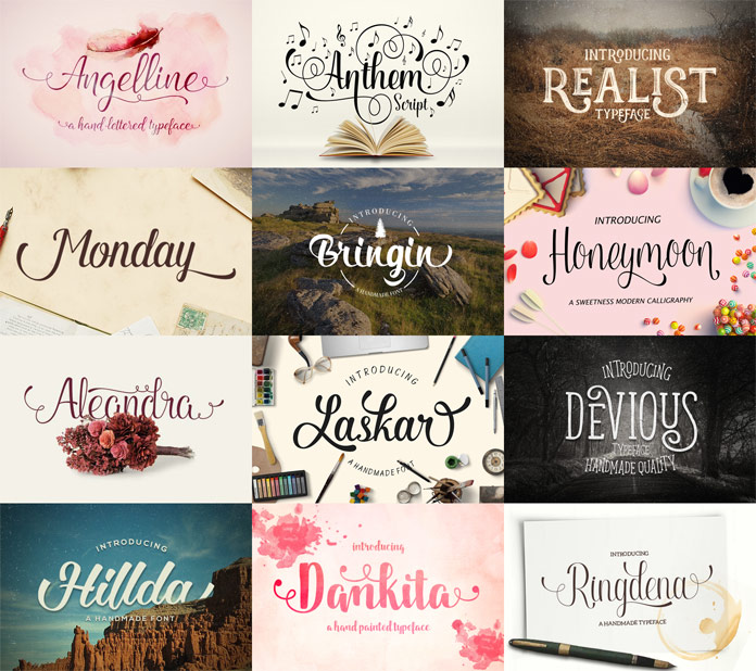 The bundle includes hand-drawn fonts such as Angelline, Anthem Script,, Realist, Monday, Bringin, Honeymoon, Aleandra, Laskar, Devious, Hillda, Dankita, and Ringdena.
