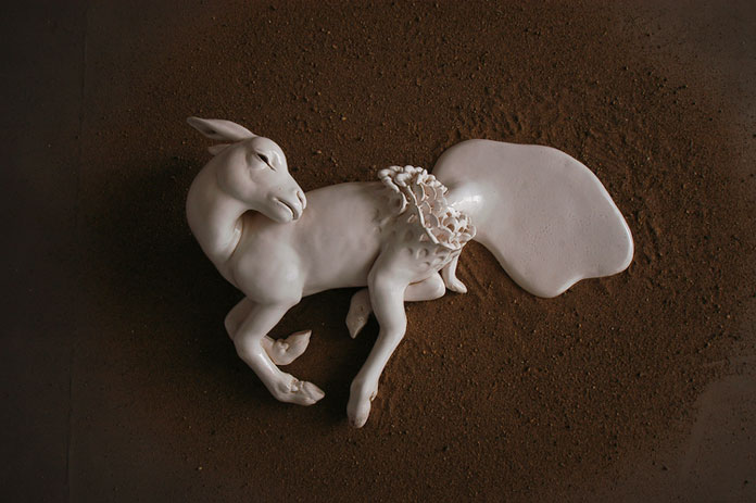 This ceramic sculpture is part of May Von Krogh's installation 'Angels trumpet and the milky moon violin'.