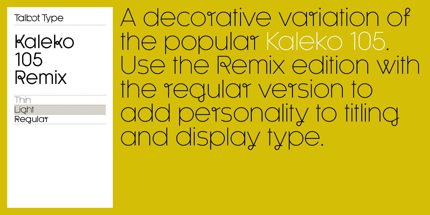 This is the light version of this remixed typeface.