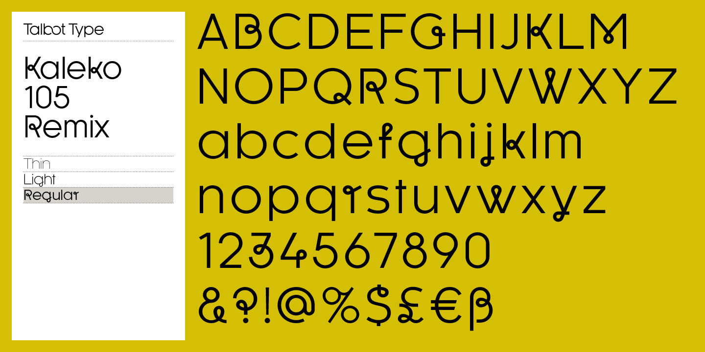 For this remixed font family, Adrian Talbot has added some occasional flourishes to the typeface.