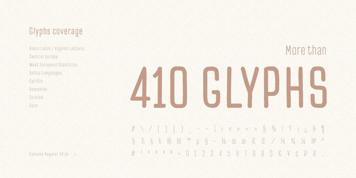 More than 410 glyphs.