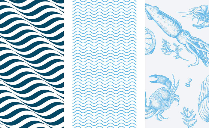 Sea life inspired brand patterns.