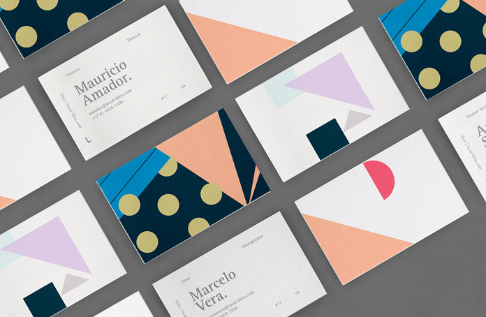 The colorful business cards.