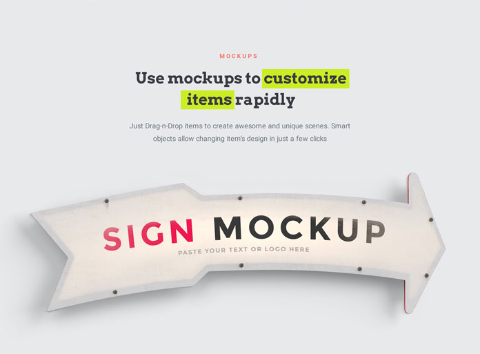 Use mockups to customize items rapidly.