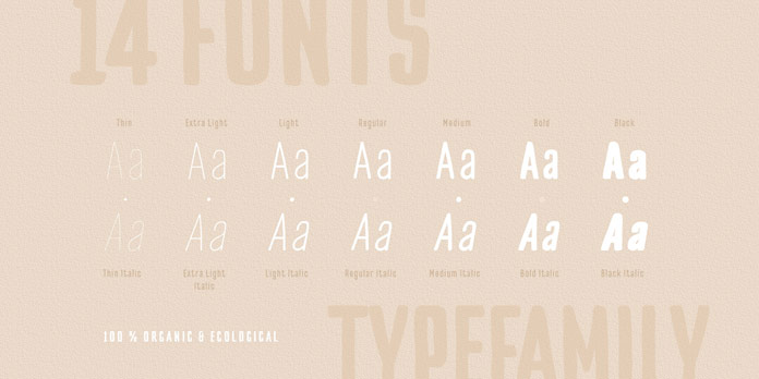 14 fonts ranging from Thin to Black plus matching Italics.