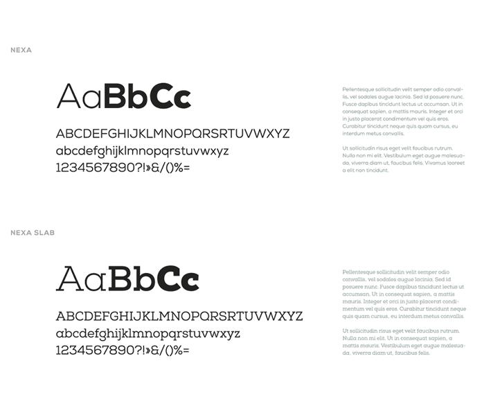 Corporate typeface: Nexa and Nexa Slab.