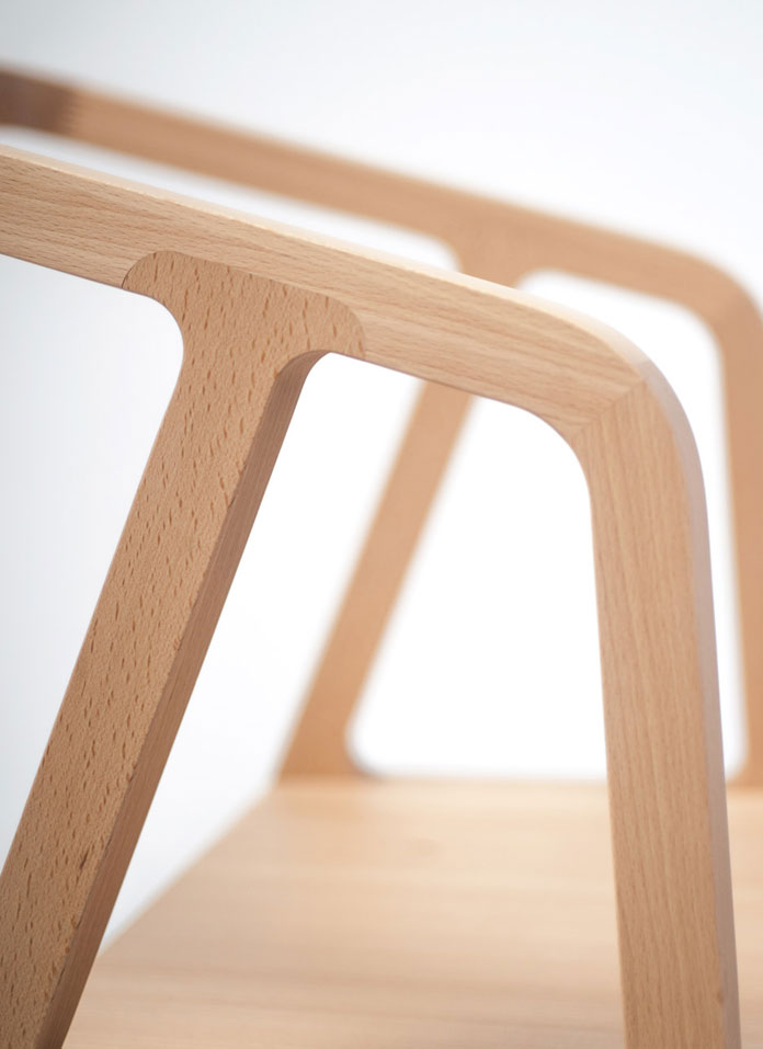 The chair has been produced in partnership with with Bildraum Bodensee and the Werkraum Bregenzerwald.