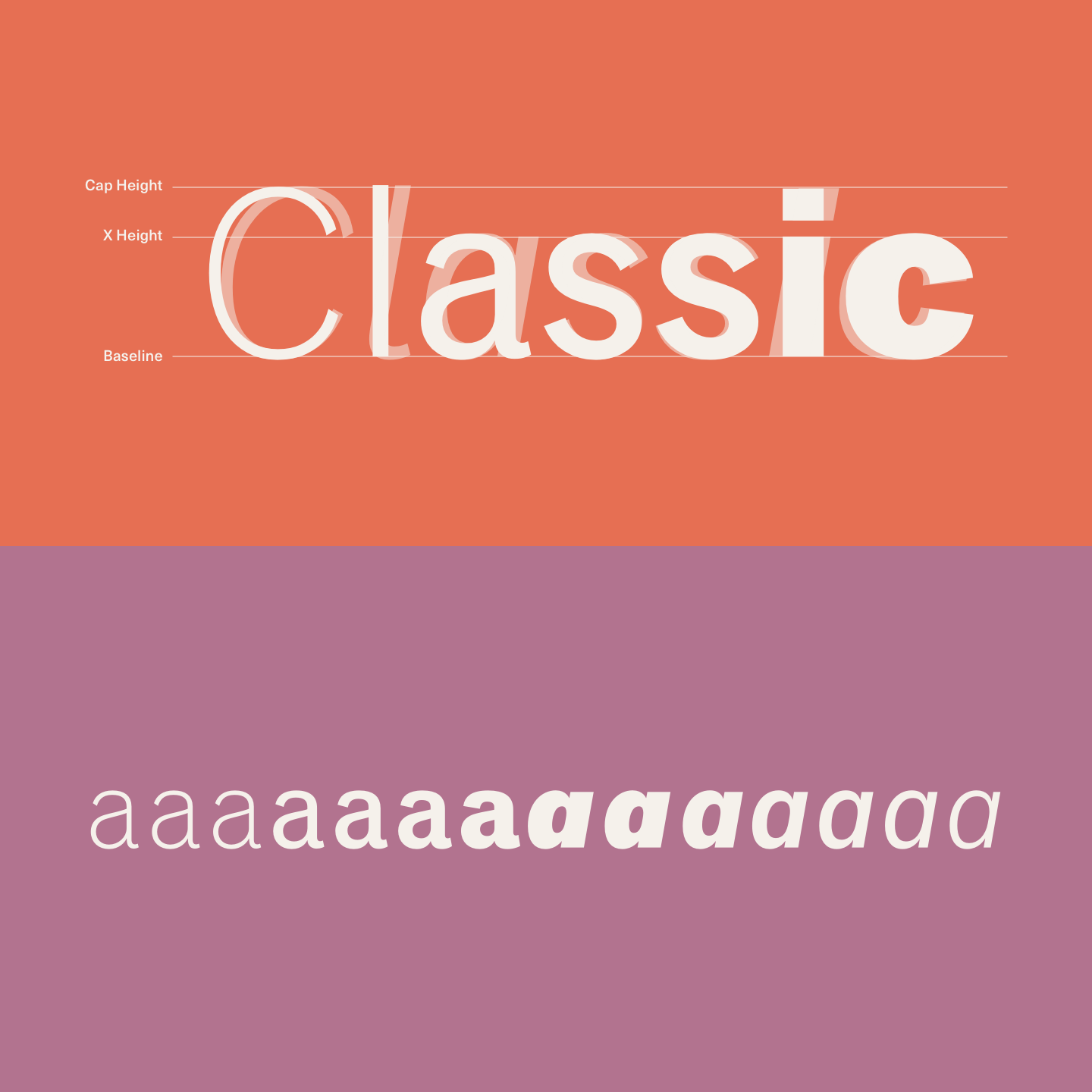 Classic Grotesque is a traditional font family with a modern face.