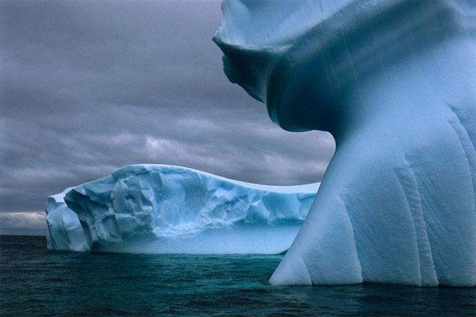 Ice bergs shaped by water, sun, and wind.