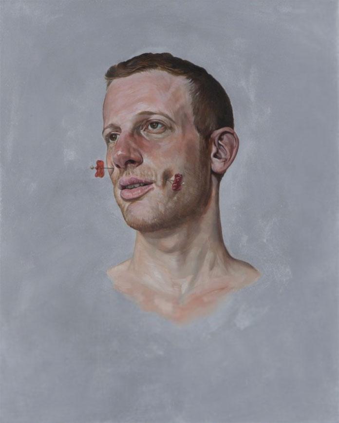 Mask - Sweet, oil on panel portraiture by artist Erik Thor Sandberg from 2015.