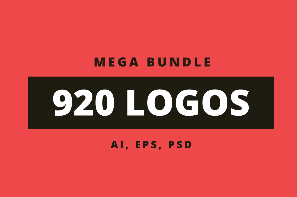 Mega bundle 920 logos - AI, EPS, PSD files.