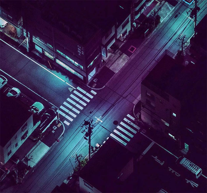 Midnight crossroads at Oshiage, Tokyo photographed from above.