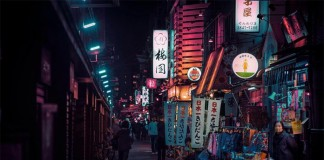 Night time at Asakusa.