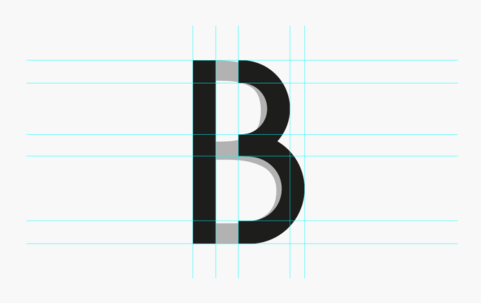 The letter 'B' has been used as logotype. It is derived from the Futura typeface.